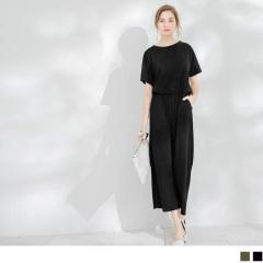 0614新品 素色後綁帶圓領短袖連身長褲.2色