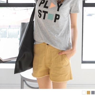 0523新品 褲腳抽鬚雙口袋造型純色水洗棉短褲.3色