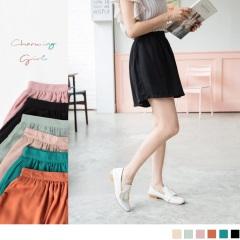 【LINE限定】高腰抓皺設計光澤感素面多色A字褲裙.6色