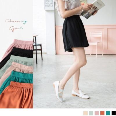 0523新品 高腰抓皺設計光澤感素面多色A字褲裙.6色