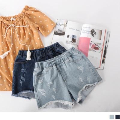 0717新品 破損感高含棉腰圍鬆緊鬚邊褲襬牛仔短褲.2色