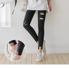 【百搭單品♥現折50】造型刷破拼接網狀內裡彈性窄管褲