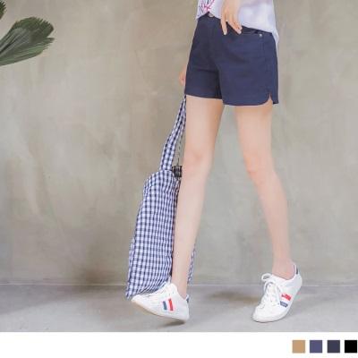 0526新品 質感純色後腰鬆緊設計挺版短褲.3色