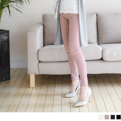 【限時快閃♥折50】設計感開釦點綴鬆緊腰頭純色彈力高腰窄管褲.4色