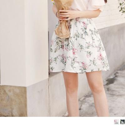 0605新品 清新花朵印花腰圍鬆緊抽繩綁帶短褲.2色
