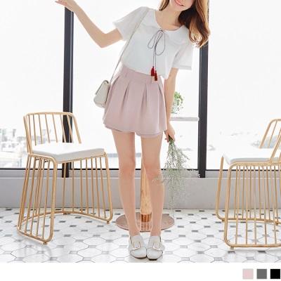 0526新品 素色打褶設計後腰鬆緊短褲裙.3色