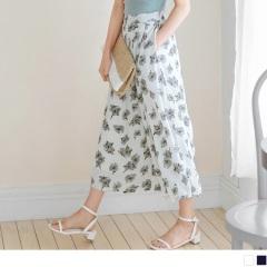 0525新品 滿版花朵圖案打摺設計後腰鬆緊雪紡寬褲.2色