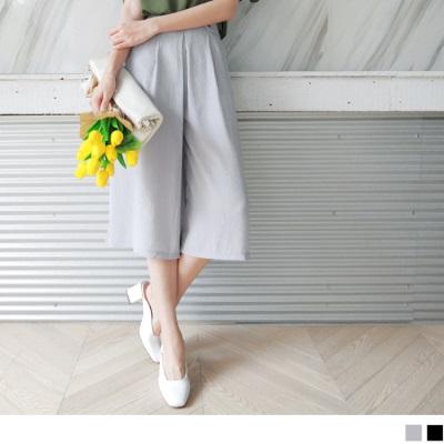 0616新品 質感後腰圍鬆緊綴假腰帶造型七分雪紡垂墜寬褲.2色