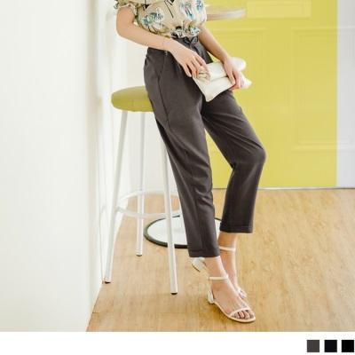 0601新品 素色蝴蝶結抽繩綁帶後腰鬆緊褲襬反褶長褲.3色