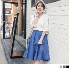 0621新品 好質感純色後腰圍鬆緊立體抓皺高含棉中裙.2色