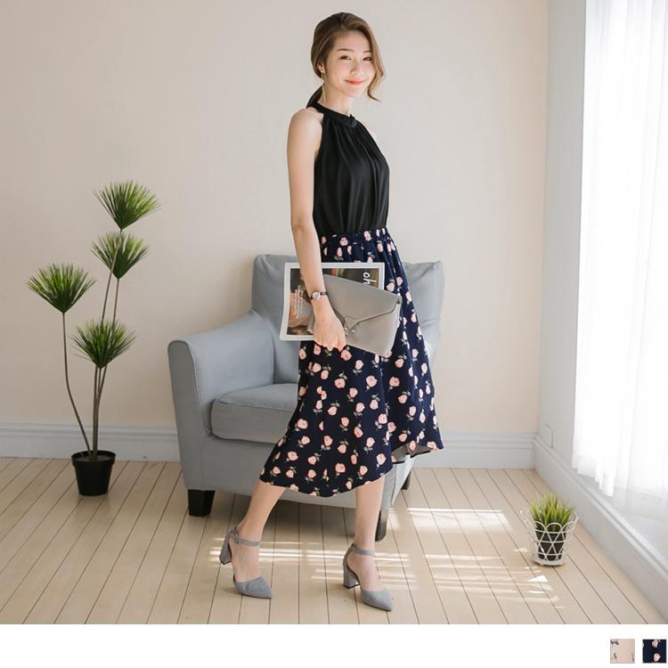 浪漫花朵圖案腰圍鬆緊交叉下襬造型長裙.2色