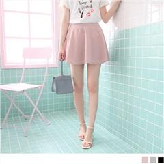 0725新品 質感純色後腰鬆緊傘襬褲裙.3色