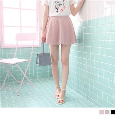 0607新品 質感純色後腰鬆緊傘襬褲裙.3色