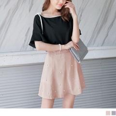【周末限定♥現折100】純色腰蝴蝶結造型綴珍珠短褲裙.2色
