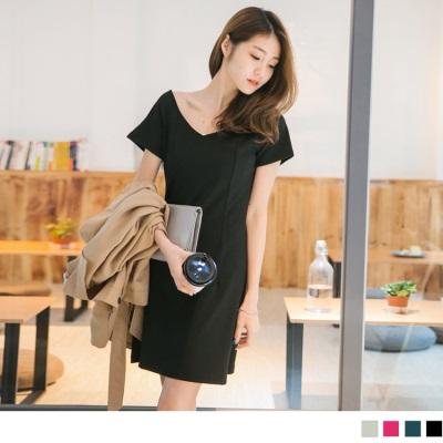 0612新品 素色挺版彈性合身剪裁V領連袖洋裝.4色