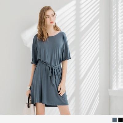 0523新品 舒適彈性寬圓領垂墜感綁帶洋裝.2色