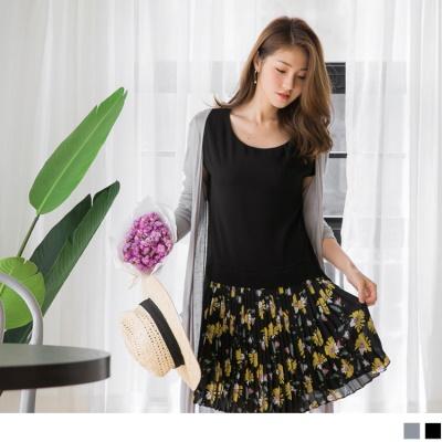 0602新品 質感雪紡拼接浪漫花朵百褶裙襬連袖洋裝.2色