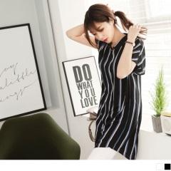0607新品 配色直條紋綴口造型連袖排釦襯衫洋裝.2色