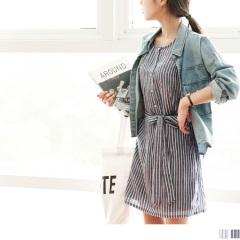 0608新品 質感直條紋胸前排釦後腰圍鬆緊綁帶無袖口袋洋裝.2色
