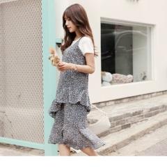 0614新品 滿版浪漫碎花圖案層次魚尾裙襬細肩帶洋裝