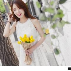 0614新品 浪漫鏤空蕾絲削肩設計傘襬洋裝.2色