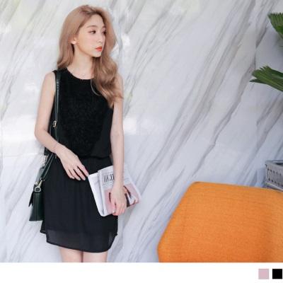 0609新品 質感素色綴鏤空布蕾絲腰圍鬆緊無袖雪紡洋裝.2色