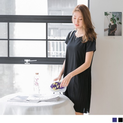 0609新品 側襬拼接雪紡百褶純色質感洋裝.2色
