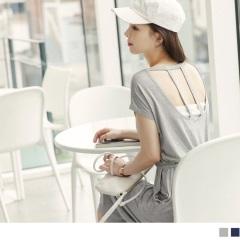 0818新品 素色美背造型抽腰綁帶連袖中長洋裝.2色