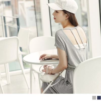 0621新品 素色美背造型抽腰綁帶連袖中長洋裝.2色
