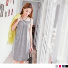0623新品 質感素色肩帶造型棉感洋裝.4色