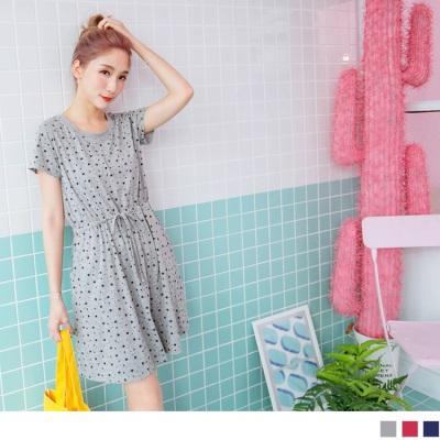 0623新品 滿版星星綴圓點圖案抽腰綁帶短袖洋裝.2色