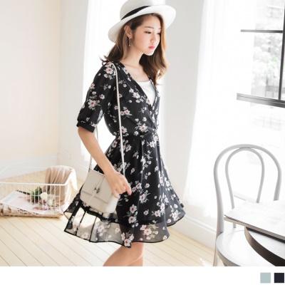 0616新品 滿版花朵雪紡綁繩洋裝.2色