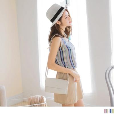 0613新品 拼色條紋拼接素面裙襬縮腰背心洋裝.2色