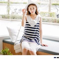 0613新品 素面拼接橫條紋層次百褶裙襬A字背心洋裝.2色