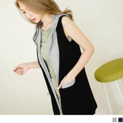 0602新品 混色棉感寬鬆彈性無袖連帽開襟外套.2色