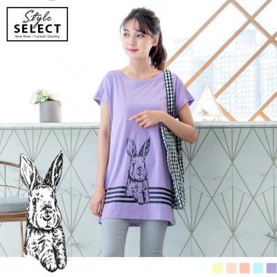 0609新品 手繪素描兔子印圖綴條文高棉量連袖長版上衣.3色