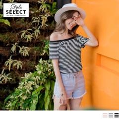 台灣製造~橫條紋鬆緊領口設計高含棉上衣.3色