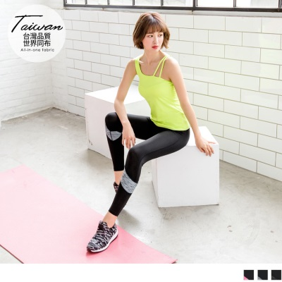台灣品質.世界同布~花紗拼接15%彈力運動長褲.3色