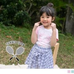 【週年慶♥童裝殺99】網球拍印花拼接袖竹節棉上衣‧童2色