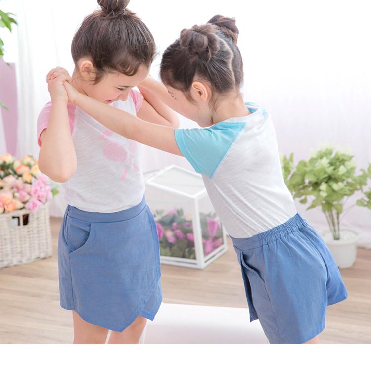 不規則設計鬆緊休閒褲裙‧童1色