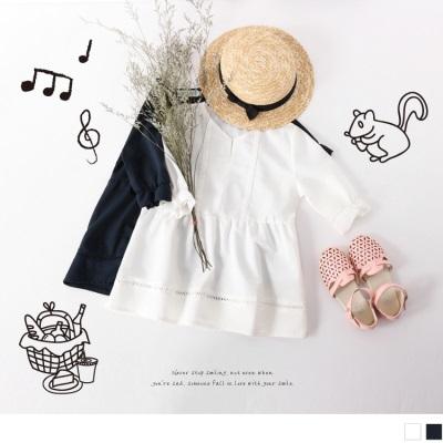 質感小V領鏤空織紋拼接荷葉袖傘擺上衣‧童2色