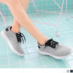 台灣製造.高彈迴力~透氣網布減壓減震運動休閒鞋.3色