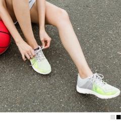 【LINE獨享優惠】台灣製造.高彈迴力~撞色線條網布減壓減震運動鞋.2色