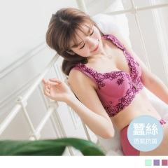 0614新品 3/4罩蕾絲輕薄墊蠶絲軟鋼圈內衣套組‧3色(B-E)