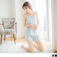 0621新品 緞面V領細肩帶蝴蝶結壓摺睡衣褲組.3色