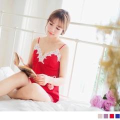 0621新品 緞面V領緹花邊細肩帶睡衣褲組.4色