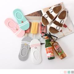 0619新品 【特價款】韓國橫條紋綴水果圖案隱形襪.4色(任3雙198)