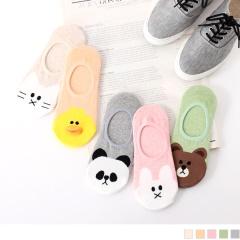 0619新品 【特價款】韓國可愛動物圖案隱形襪.2色(3入198)