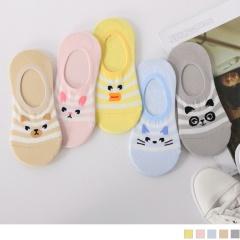 0609新品 【特價款】韓國動物綴條紋後跟防滑隱形襪.5色(任3雙198)