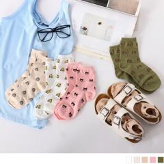 0609新品 【特價款】韓國可愛卡通人物棉質短筒襪.5色